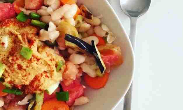 Ensalada doble de legumbres con verduras asadas