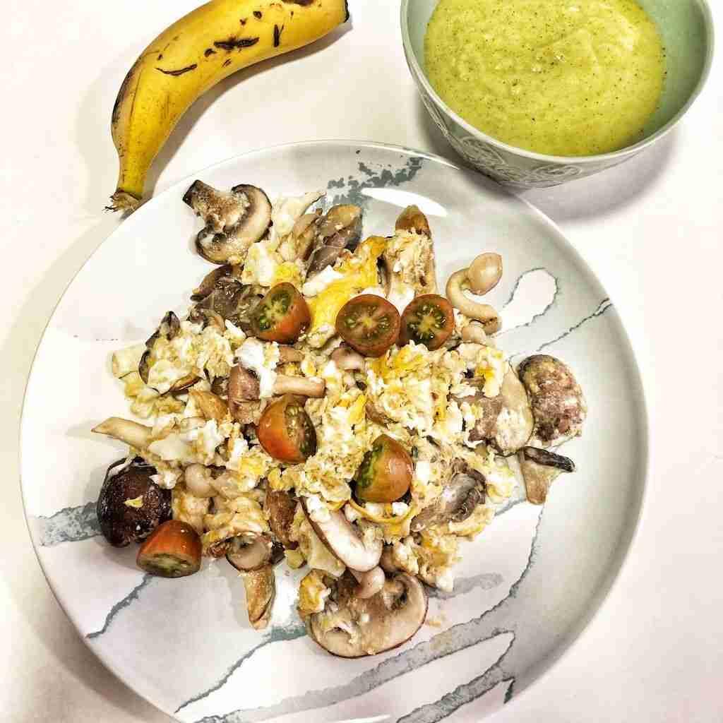 Idea de cena saludable #3 - Revuelto de setas y crema de brocoli