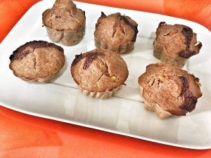 Muffins de avena y plátano con chocolate