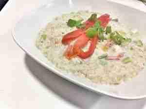 Porridge con pimientos asados